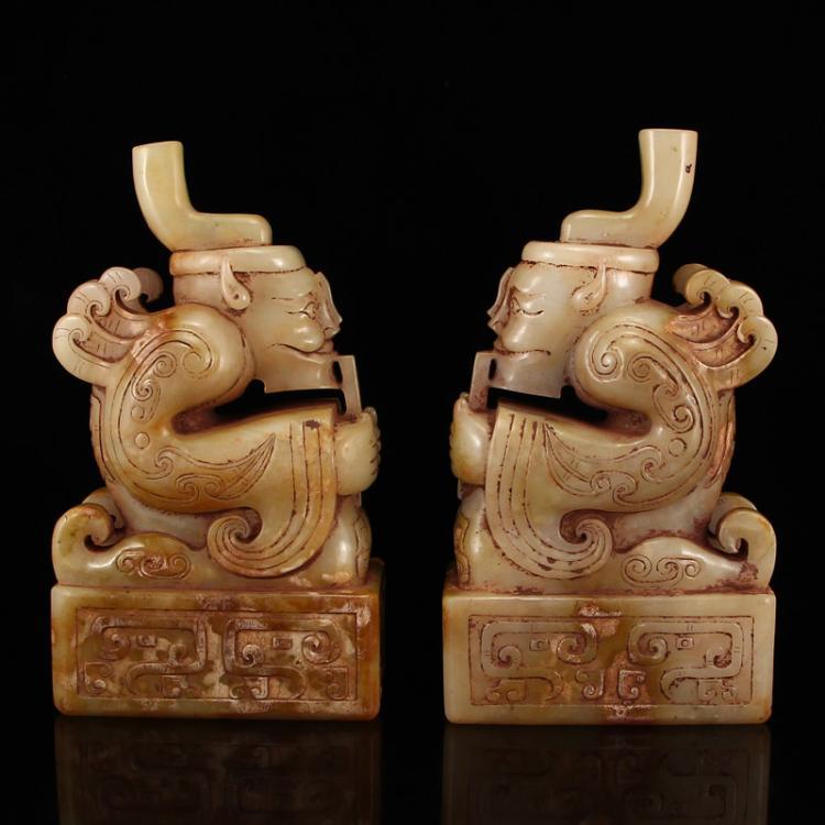 A Pair Chinese Han Dynasty Hetian Jade Figure Seals