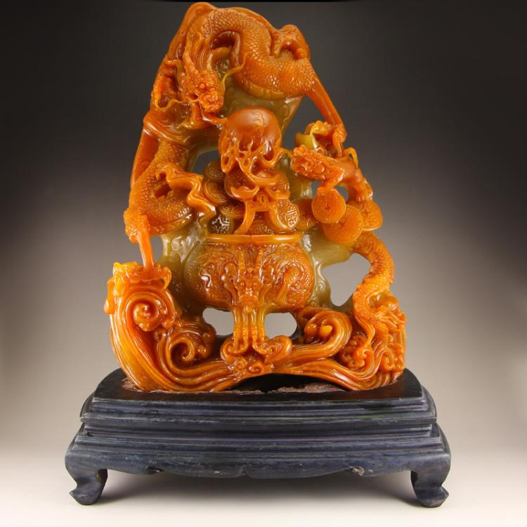 Chinese Shoushan Stone Fortune Dragon &Fire Ball Statue