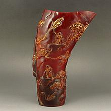 Vintage Hand Carved Chinese Ox Horn Sacrifice Cup w Man & Pine Tree