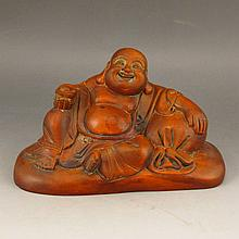 Vintage Hand Carved Chinese Natural Boxwood Statue - Laughing Buddha