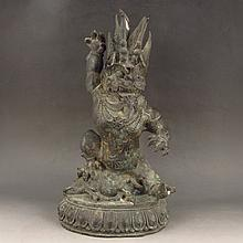 18 TH C Chinese Bronze Carved Statue - Fortune Dragon Deity