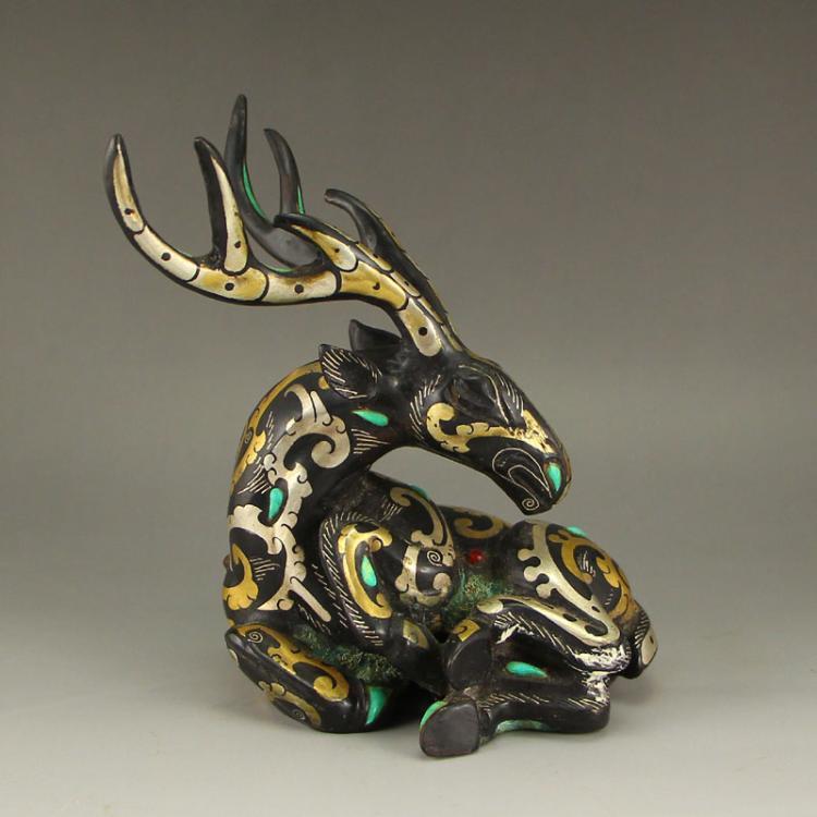 Vintage Chinese Gilt Gold & Silver Bronze Inlay Gem Statue - Deer