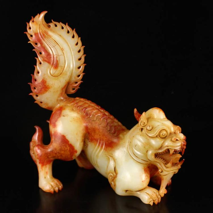 Chinese Han Dynasty Hetian Jade Kylin Statue