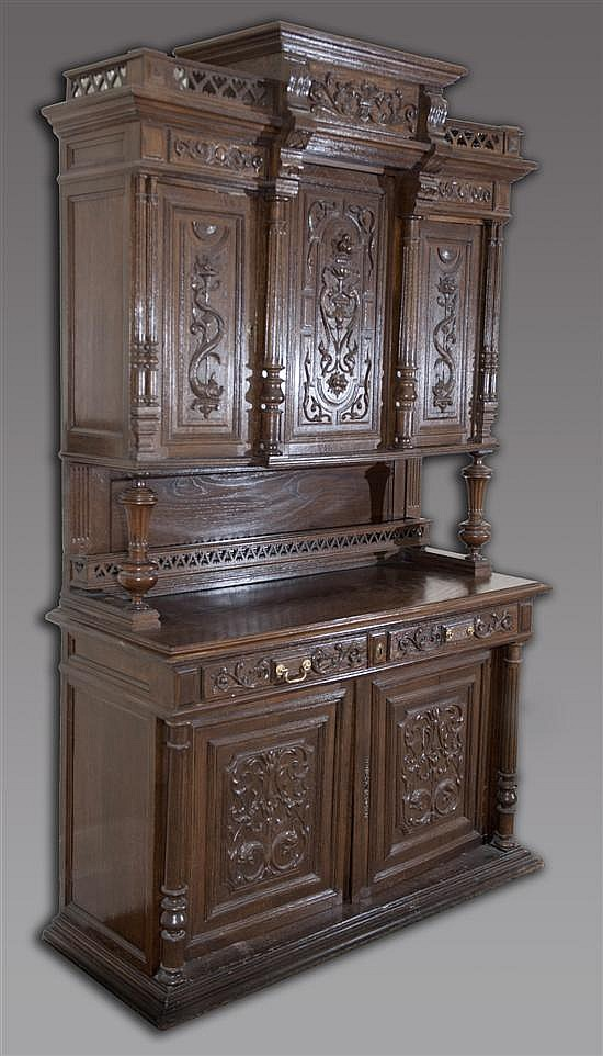 Heavily Carved Oak Buffet with Marine Style Carvings