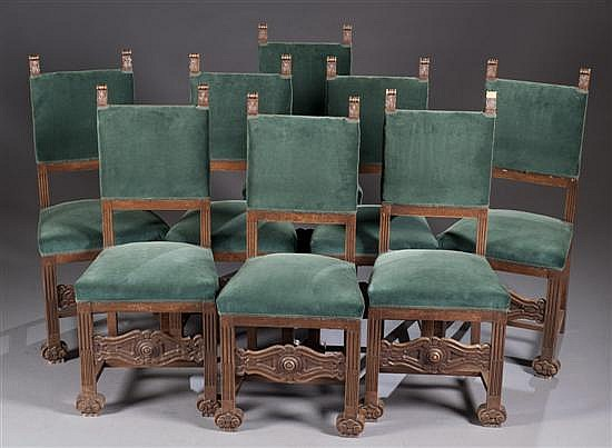 Set of Eight Late 19th Century Carved Walnut Chairs