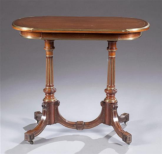 Brass Mounted Mahogany Occasional Table, Ca. 1880