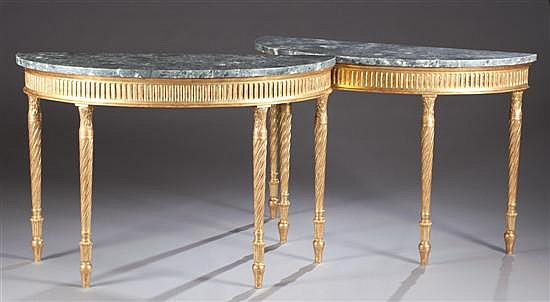 Pair of Giltwood and Marble Console Tables, Ca. 1850