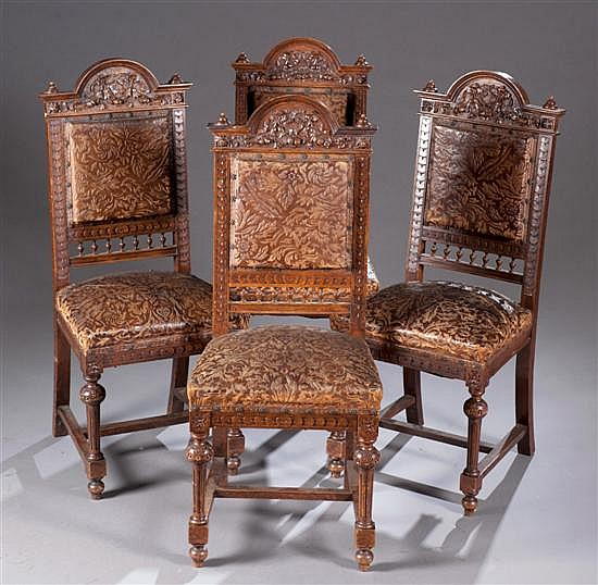 Set of Four Austrian Carved Walnut Dining Chair with Leather Upholstery