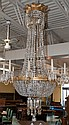 Bronze and Glass Chandelier, Ca. 1875