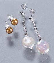 Two Pairs of Cultured Pearl Earrings with Sterling Silver Clasps