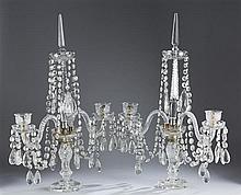 Pair of American Cut Crystal Candelabras