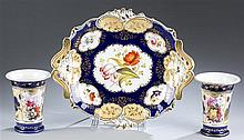 English Derby Style Serving DIsh and Two Spill Vases