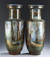 Pair of 20th Century European Painted Vases of a Woodland Scene