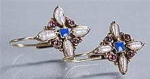 Earrings Marked 925 with Gold Overlay, Inset with Lapis and Pearl
