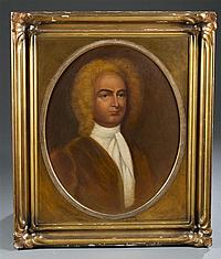 "Charles Xavier Harris, (American, b. 1856), Portrait of Mr. Sir John Randolph, Oil on Canvas, 28"" H x 22"" W"
