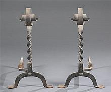 Circa 1900 Wrought Iron Andirons