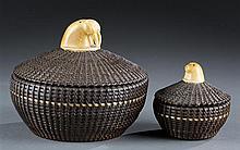 Alaskan Eskimo Baleen Nesting Baskets by Marvin Sabvan Peter (1911-1962)