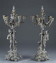 Circa 1900 Pair of Spelter Candelabra