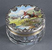 Hunt Scene Dresser Jar, Hand Painted and Sterling Lid, Glass Base