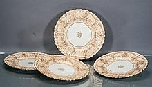Four J.E. Caldwell Minton Gilded Porcelain Plates