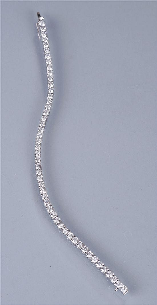 Platinum and Diamond Line Bracelet