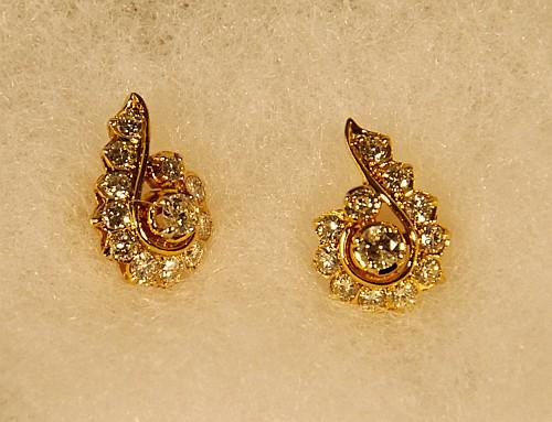 Pair of 14K Yellow Gold Diamond Earrings