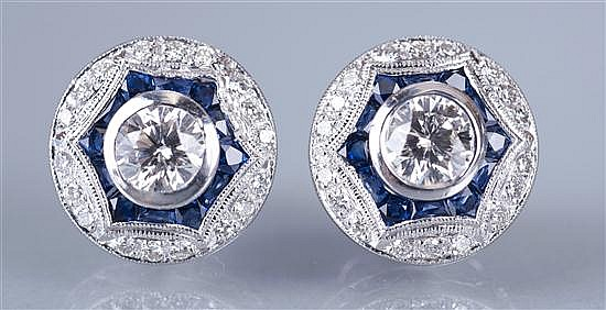 Pair of Platinum, Diamond and Sapphire Deco Style Earrings.