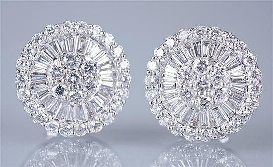 Pair of Platinum and Diamond Earrings