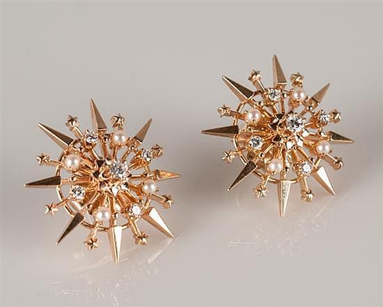 Pair of 14K Rose Gold Starburst Diamond and Pearl Earrings,