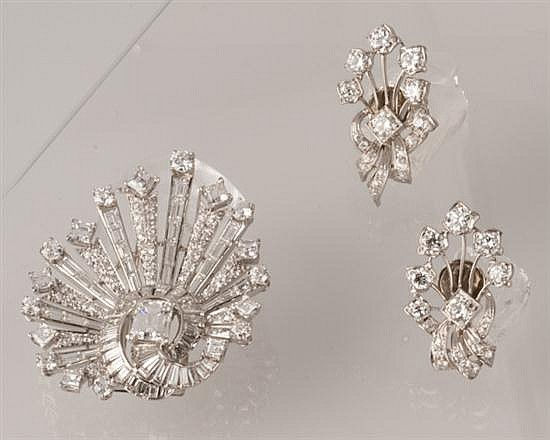 Platinum and Diamond Earrings and Brooch, Ca. 1950,