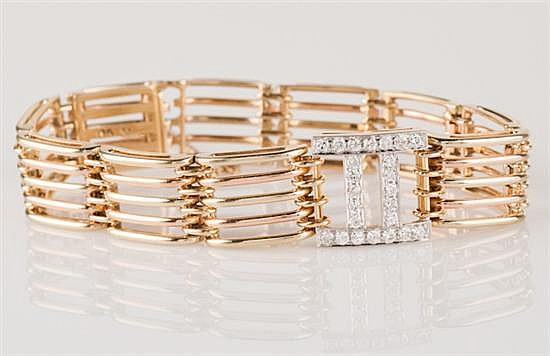 14K Green and Rose Gold and Diamond Gate Link Bracelet, 32.2 grams,