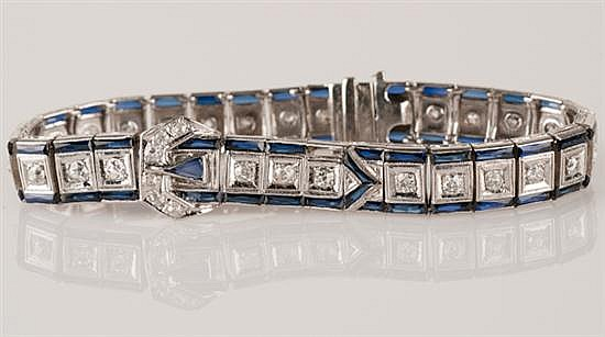 18K White Gold and Sapphire Art Deco Bracelet, 15.2 grams,