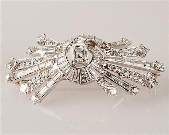 Platinum and Diamond Brooch, 15.6 grams,