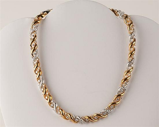 18K Two-tone Gold and Diamond Necklace, 100.6 grams,