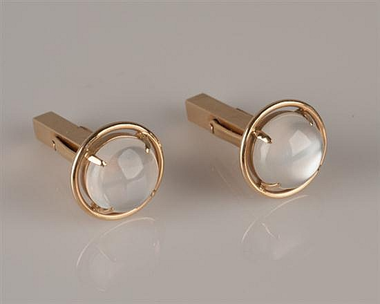 Pair of 14K Yellow Gold and Moonstone Cuff Links by Tiffany & Co.,