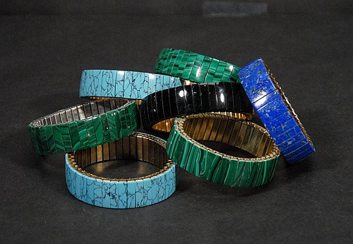 Lapis, Malachite and Turquoise Flexible Bracelets