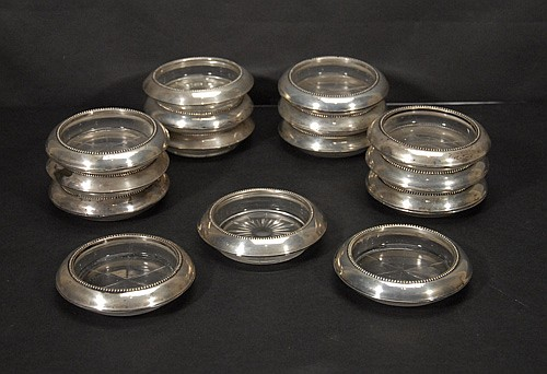 15 Glass and Sterling Coasters