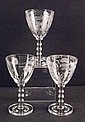 Set of Three (3) Etched Glass Stacked Stem Wine Glasses