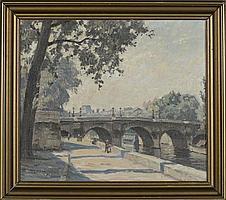 "Walther Meinhardt, (1891 - 1948), ""Warm Afternoon by the Seine, Paris"", Oil on Canvas, 12"" H x 13 1/2"" W, frame 15"" H x 16 3/4"" W"