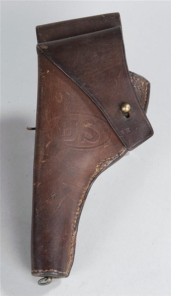 "World War I or earlier US Army embossed ""US"" leather pistol holster. Inspector marked on front flap with traces of maker mark on rev..."