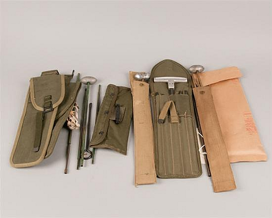 Lot of 5 World War I and World War II mess kits with utensils and Rifle cleaning kits