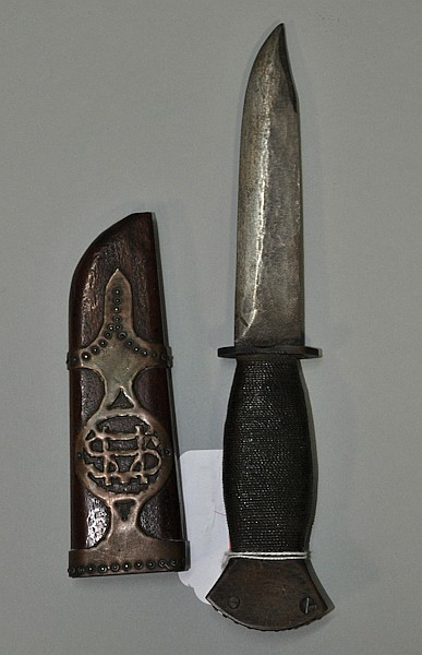WWII soldier-made fighting knife with unique brass reinforced wood scabbard and blade made from a file