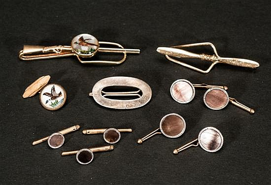 Mixed Lot to Include; 14 Kt. Gold Shotgun Tiebar, Airplane Propeller Tiebar and Cufflinks