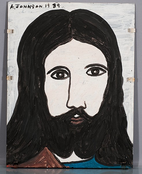 Anderson Johnson 1989 Jesus, Painting on Glass