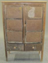 Southern Pine Punched Tin Pie Safe, 19th c.