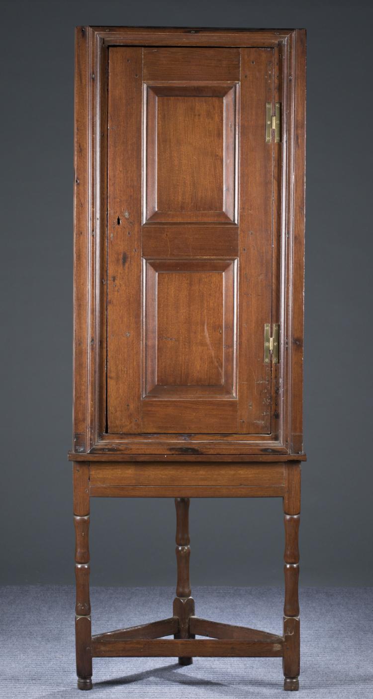 Diminutive English Pine Corner Cabinet On Stand