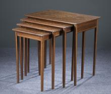 Oak & Satinwood Inlaid Nesting Tables, 20th c.