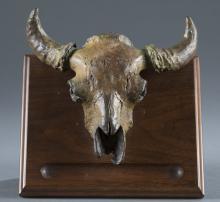Charlie Russell Riders Bronze Buffalo Skull.