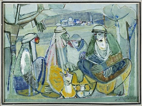 Meir Steingold, Four Bedouins, Oil on Canvas, 45