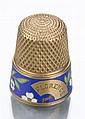 18K Yellow Gold Enameled Thimble